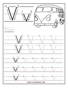 Free Printable letter V tracing worksheets for preschool.free connect the dots alphabet writing practice worksheets for graders Letter Worksheets For Preschool, Preschool Writing, Preschool Letters, Tracing Worksheets, Free Preschool, Preschool Printables, Kindergarten Worksheets, Preschool Activities, Alphabet Worksheets