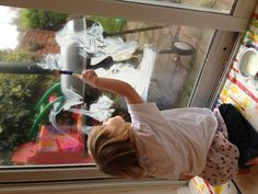 Recipe for window paint :-) this is good fun that is easily cleaned up.
