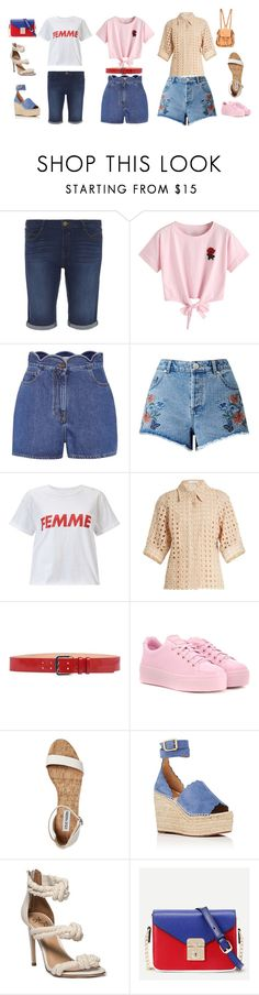 """""""How To Wear Denim Shorts"""" by april-1884 ❤ liked on Polyvore featuring Dorothy Perkins, WithChic, Valentino, Miss Selfridge, Chloé, Dsquared2 and Kenzo"""