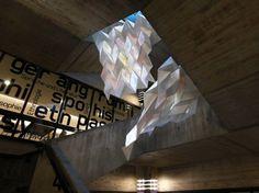 Luminous Origami Art Installation Displays Digital Information at Bremen University Library