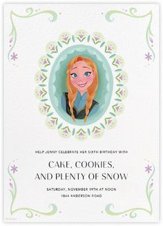 """Perfect for a Frozen party are these """"Anna's Royal Portrait"""" by Paperless Post. Check out their online Frozen invitations for kids' birthdays with easy-to-use design tools and RSVP tracking. View other Disney invitations on paperlesspost.com/disney."""