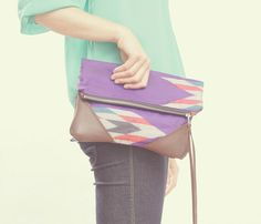 aztec + leather clutch