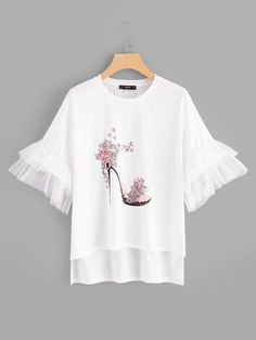 Best 12 Young Cute Regular Fit Round Neck Short Sleeve Flounce Sleeve Pullovers White Regular Length High-Heeled Shoes Print Bell Sleeve Tee – Page 682295412277858779 Hand Painted Dress, Diy Clothes, Clothes For Women, Vetement Fashion, Shirt Blouses, Shirts, Mode Hijab, Diy Shirt, Printed Tees