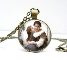 Girl Mother Necklace Glass Dome Art Picture Pendant by Lizabettas, $14.00