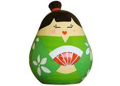 poupée porte-bonheur japonaise ronde Kokeshi