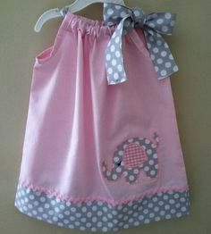 Beautiful Elephant in pink pillowcase dress.. $28.00, via Etsy.