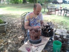 Copying the Mexican Friendship Candle Holder.  My brother Tim and I worked on it together.