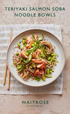 Teriyaki salmon soba noodle bowls Teriyaki salmon noodles with edamame beans and sesame seeds, ready in 25 minutes. Tip: try using buckwheat noodles - they have a nutty flavour and are wheat-free. Tap for the Waitrose & Partners recipe. Salmon Recipes, Fish Recipes, Seafood Recipes, Asian Recipes, Vegetarian Recipes, Cooking Recipes, Healthy Recipes, Cod Recipes, Eggplant Recipes