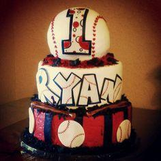 Braves Baseball 1st birthday cake