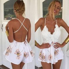 Buy 2017 Summer Women Ladies Clubwear V Neck Playsuit Bodycon Party Jumpsuit&Romper Trousers at Wish - Shopping Made Fun Boho Jumpsuit, Playsuit Dress, Floral Playsuit, Bodycon Jumpsuit, Lace Romper, Short Jumpsuit, Backless Playsuit, Fitted Jumpsuit, White Romper