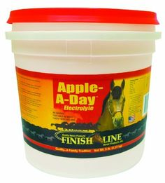 Finish Line Horse Products Apple A Day (5-Pounds) by Finish Line Horse Products. $15.30. Aids appetite and water consumption.. Apple-A-Day electrolyte is cost effective, just feed 1 oz. daily (depending on workload/weather).. Prevents dehydration, promotes healthy hydration.. Replenishes Electrolytes.. 5-Pounds Apple A Day Electrolyte the First, and BEST apple flavored electrolyte! Apple A Day Electrolyte helps promote healthy hydration. The Original apple electrolyte/minera...