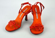 NEW!  Tommy Hilfiger Orange Ankle Strap Leather Floral Heels Pumps ~ Sz 6  #TommyHilfiger #PumpsClassics