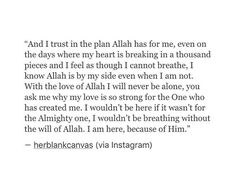 So true..I trust everything Allah s.w.t. has decreed for me..Who could wish better for me than the one who created me?..Alhamdulillah..