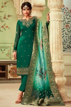 Buy Dark Green Satin Georgette Straight Pant Suit - Salwar Kameez for Women from Andaaz Fashion at Best Prices. Style ID: Pakistani Salwar Kameez, Churidar Suits, Pakistani Suits, Pakistani Dresses, Fashion Pants, Fashion Dresses, Satin Vert, Wedding Salwar Suits, Straight Cut Pants