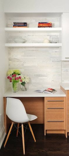 builtin floating desk with shelves | ... desk chair, floating shelves, whtei floating shelves, Eames Molded