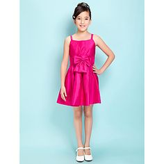 a-lijn spaghettibandjes korte / mini taft junior bruidsmeisje jurk (306814) – EUR € 36.35