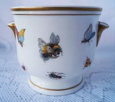 A small vintage bone china planter, cache pot or jardiniere, unusually decorated insects and gold detail, by Princess Royale. A great gift. by Alexsprettyvintage on Etsy https://www.etsy.com/listing/274808794/a-small-vintage-bone-china-planter-cache