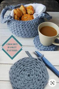 Crochet basket pattern in PDF with crochet instructions. Beginner Crochet bowl pattern, DIY pattern for beginners from bulky tshirt yarn. Crochet Bowl, Crochet Basket Pattern, Quick Crochet, Chunky Crochet, Crochet Yarn, Crochet Hooks, Crochet Home Decor, Modern Crochet, Fabric Yarn
