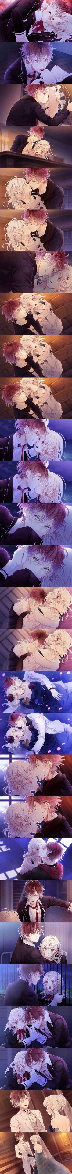 Diabolik lovers, vampire anime Ayato X Yui Manga Anime, Anime Kiss, Anime Naruto, Manga Love, I Love Anime, Awesome Anime, Subaru Sakamaki, Ayato Sakamaki, Noragami