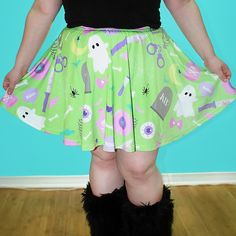 Green Creepy Party Skater Skirt by starryeyedbowtique on Etsy