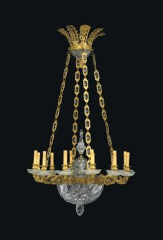 A FRENCH ORMOLU AND CUT-GLASS TWELVE-LIGHT CHANDELIER MID-19TH CENTURY.