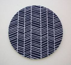 Mouse Pad mousepad / Mat - Round -  Navy blue herringbone  chic / cute / preppy / computer, desk accessories / cubical, office, home decor / co-worker, student gift / patterned design / match with coasters, wrist rests / computers and peripherals
