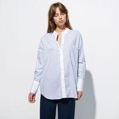 FWSS Wasting is a classic, crisp menswear inspired cotton shirt. Front pocket, hidden buttons and open mandarin collar. Fall Winter Spring Summer, Mandarin Collar, Dots, Menswear, Tunic Tops, Elegant, Crisp, Cotton, Shirts