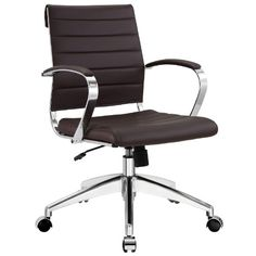 Modway LexMod Jive Ribbed Mid Back Executive Office Chair Terracotta Vinyl Black Office Chair, Swivel Office Chair, Desk Office, Green Office, Front Office, Office Decor, Office Furniture, Modern Furniture, Green Furniture