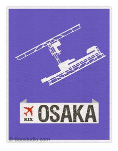 Fly me to Osaka KIX - Japan International Airport Runway Osaka Map - Airport Code Aviation Airplane Print Poster Birthday Gift