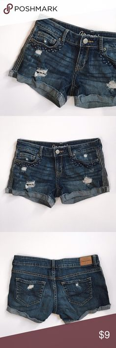 """Aeropostale Jean Shorts These Aeropostale jean shorts are absolutely adorable! I'm so sad they're just a little bit too tight for me! 🙁 They're in great condition and have beautiful embroidered accents.  Size: 2 Waist: 29"""" Outseam: 9.5"""" Inseam: 3 1/4""""  🚭 From a smoke-free home ⚡️ Same day/Next day shipping ❌ No trades or off PoshMark sales 🛍 Bundles welcome and encouraged 👌🏻 Reasonable offers welcome  I'm currently saving up for a trip to Disney World with my family so please make me an…"""
