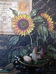 FRENCH COUNTRY DOUBLE ENVELOPE MINI ALBUM - BIRD NEST
