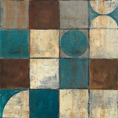 Tango Detail II - Blue Brown - 18x18  - 18x18 by