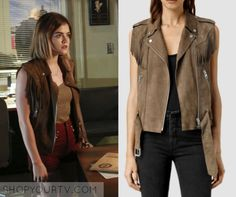 ShopYourTv:Pretty Little Liars: Season 6 Episode 18 Aria's Fringe Vest - ShopYourTv allsaints brown western tassel gilet Pretty Little Liars Aria, Pretty Little Liars Outfits, Pretty Little Liars Seasons, Pll Outfits, Teenager Outfits, Aria Montgomery Style, Aria Style, Fashion Clothes, Fashion Outfits
