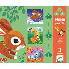 Wunderschönes 3er Puzzle Set mit lustigen Häschen aus dem Hause DjecoAus dem Hause Djeco kommt dieses liebevoll gestaltete 3er Puzzle, mit jeweils, 2/3/5 Puzzleteilen, bleibt das Zuordnen dank unterschiedlicher Motive auf der...