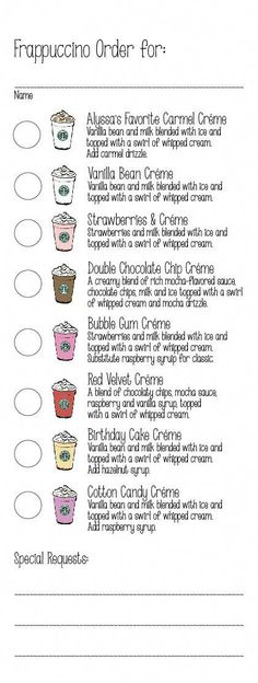 Birthday Party - Frappuccino Order Form - Created order form with all of the Starbucks secret menu créme based Frappucinos along with the birthday girl's favorite. This made ordering fun and super easy for the baristas! Starbucks Hacks, Menu Secret Starbucks, How To Order Starbucks, Starbucks Logo, Starbucks Coffee, Starbucks Frappuccino Menu, Starbucks Drink Menu, Starbucks Flavors, Starbucks Crafts
