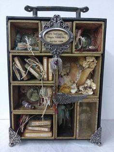 Miniature Journals, Books and Jewelry pieces are handmade. Subtle feather embossing on outer box. Mixed Media Boxes, Altered Cigar Boxes, Collages, Shadow Box Art, Thrift Store Crafts, Old Boxes, Wood Plank Art, Displaying Collections, Assemblage Art