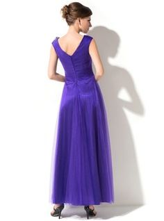 A-Line/Princess V-neck Ankle-Length Tulle Mother of the Bride Dress With Ruffle Beading Flower(s) (008026215) - JenJenHouse