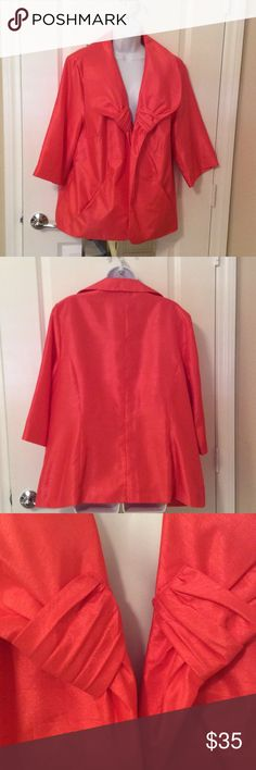 Russell Kemp New York Dress Jacket Beautiful shiny polyester dress jacket, no closure, worn once.  Big collar with a band of gathered material at end of collar in front.  3/4 sleeves and ready for any occasion.  A coral/pumpkin color.  Two slit pockets in front.  I have the same exact dress jacket in lime green made of the same shiny polyester material.  Light weight and fully lined.  machine washable, gentle cycle, cold, fluff on low heat for a few minutes and hang to dry. Russell Kemp…