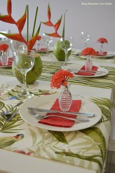 Tropical Wedding Table with heliconia, coconuts and a tropical print table runner Tropical Centerpieces, Table Centerpieces, Table Decorations, Centrepieces, Table Arrangements, Flower Arrangements, Decoration Evenementielle, Beautiful Table Settings, Tropical Party