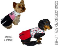 Cheerleader Dog Dress Pattern 1639 * XXSmall & XSmall * Dog Clothes Pattern * Cheerleader Dog Costume * Dog Apparel * Girl Dog Clothes