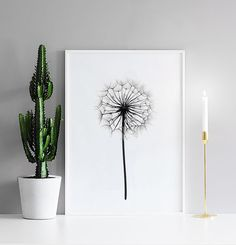 Stylish black and white print with a flower.