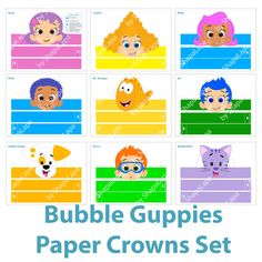 Set consists of 9 crowns with different heroes of cartoon Bubble Guppies such as: • Molly • Gil • Goby • Deema • Oona • Nonny • Mr. Grouper • Bubble
