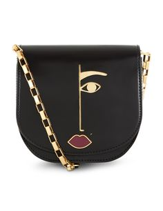 Black Leather Dora Cross-Body Bag Lulu Guinness