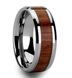 Men's Ring The Rosewood is a tungsten carbide ring with a high polish mirror finish.  This 8mm band has a elegant Rosewood inlay wrapping around this beautiful wedding band.  It's currently discounted to $50!!  Full & Half Sizes Available