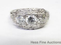 Antique 18k Gold Platinum Signed Old Cut Diamond Approx 1.25ctw Filigree Ring #Cocktail