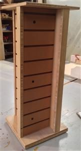 Half price: $95 - One of a kind product sample.  Four sided countertop spinner display made of bamboo and paint grade slat wall. 12 x12 x 29 H Comes with assembly hardware, but no display hooks or accessories.  In good condition being sold AS IS, no returns. www.ecowooddisplays.com