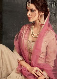 Beige And Pink Ethnic Embroidered Palazzo Suit - Hatkay Best Designer Dresses, Indian Designer Outfits, Indian Outfits, Beauty Full Girl, Top Beauty, Beauty Box, Hair Beauty, Indian Bridesmaids, Stylish Photo Pose