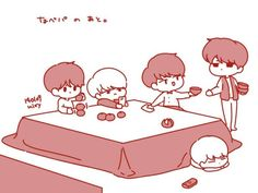 SHINee fan art. I love that Onew's watching telly from under the table & that Minho is the one cleaning up.