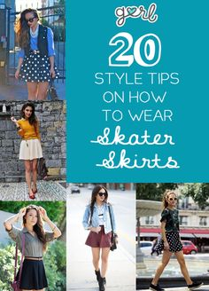 {I am a sucker for skater skirts} 20 Style Tips On How To Wear Skater Skirts Mode Outfits, Girl Outfits, Fashion Outfits, Fashion Tips, Fashion Design, Skater Skirt Outfit, Skater Skirts, Spring Summer Fashion, Spring Outfits