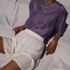 Vintage lavender 100% liquid silk short sleeve blouse